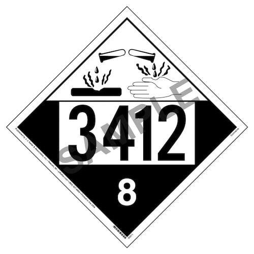 3412 Placard - Class 8 Corrosive (012209)