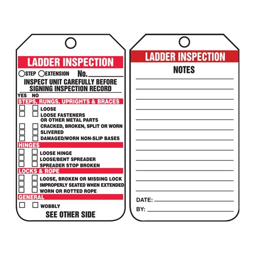 Ladder Inspection Checklist - Safety Tag (012252)
