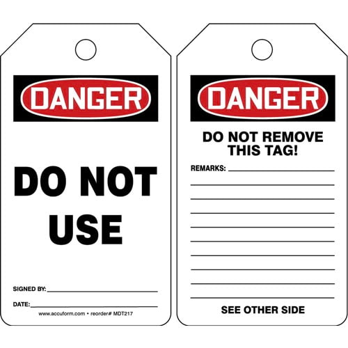 Danger: Do Not Use - OSHA Safety Tag (012287)