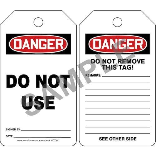 Danger: Do Not Use - OSHA Safety Tag (012287)