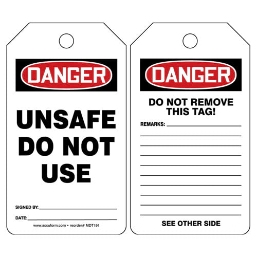 Danger: Unsafe Do Not Use - OSHA Safety Tag (012288)