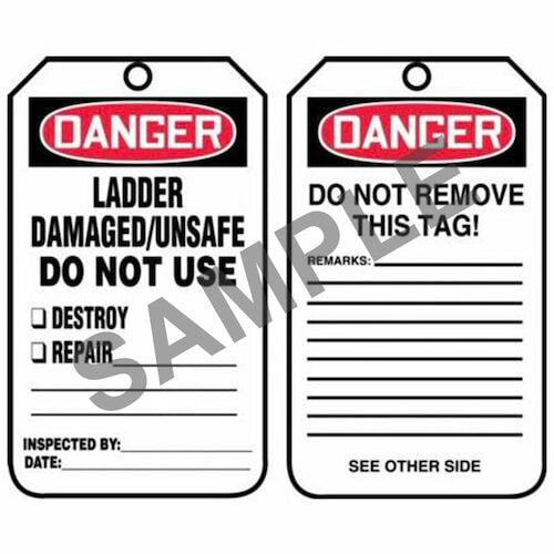 Danger: Ladder Damaged/Unsafe Do Not Use - OSHA Safety Tag (012290)