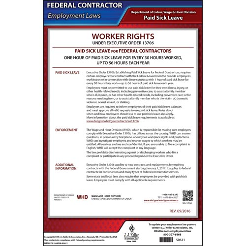 Federal Paid Sick Leave for Contractors Poster (012396)