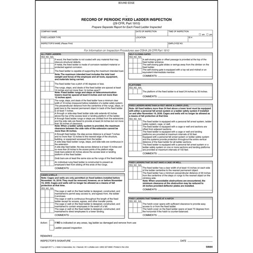 Periodic Fixed Ladder Inspection Form Snap Out Format Stock