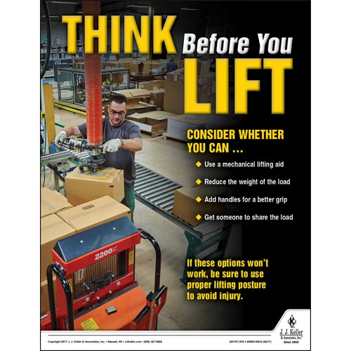 Think Before You Lift - Workplace Safety Training Poster (012362)