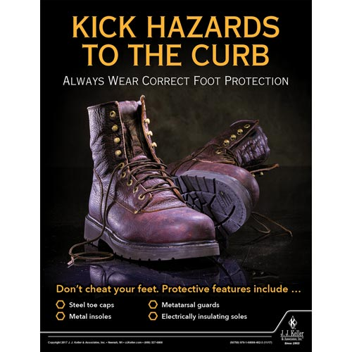 Kick Hazards To The Curb - Workplace Safety Training Poster (012365)