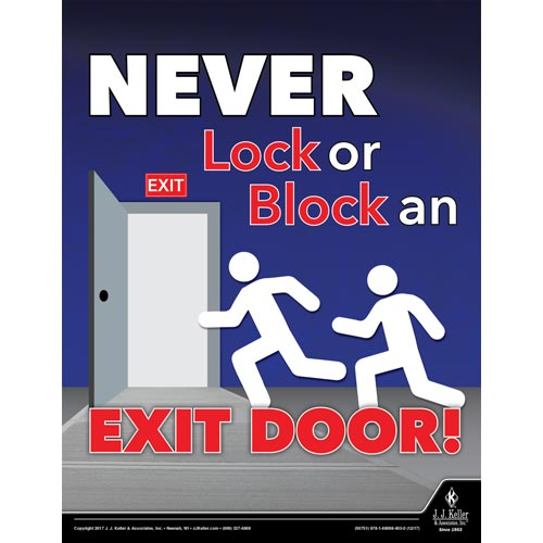 """Never Lock or Block an Exit Door - Workplace Safety Training Poster (012366)"