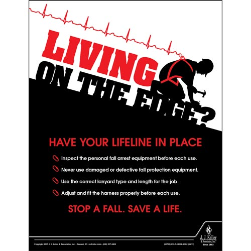 Living On The Edge - Construction Safety Poster (010846)