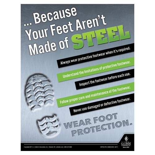 Wear Foot Protection - Construction Safety Poster (010847)