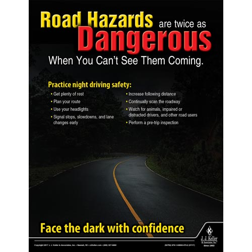 Road Hazards Are Dangerous - Driver Awareness Safety Poster (012226)