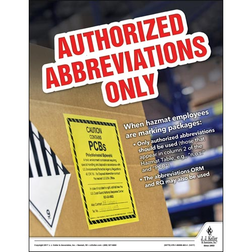 Authorized Abbreviations Only - Hazmat Transportation Poster (012240)