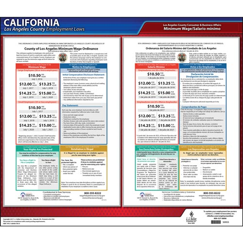 California / Los Angeles County Minimum Wage Poster (012505)