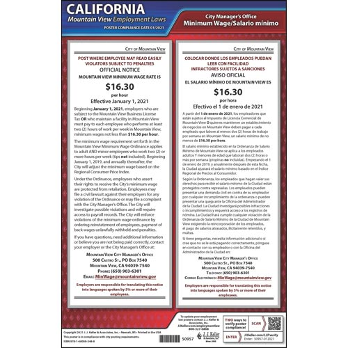 California / Mountain View Minimum Wage Poster (012507)