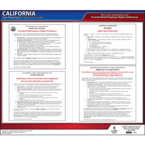 California / San Francisco Formula Retail Bill Of Rights Poster (012512)