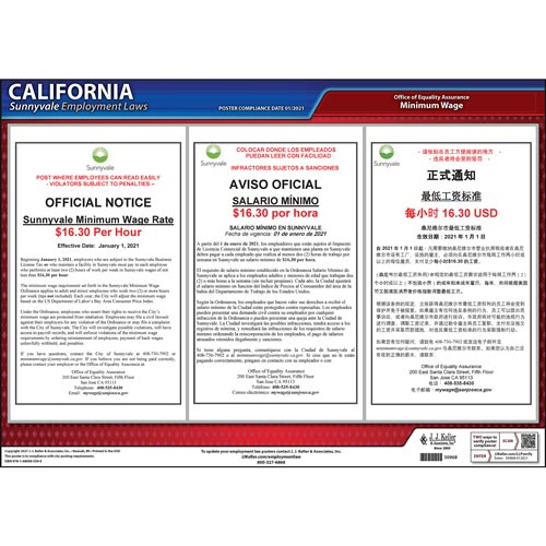 California / Sunnyvale Minimum Wage Poster (012518)