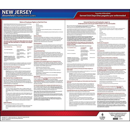 New Jersey / Bloomfield Paid Sick Leave Poster (012526)