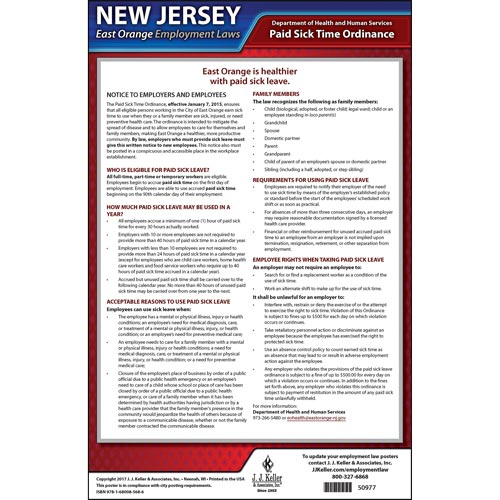 New Jersey / East Orange Paid Sick Leave Poster (012527)