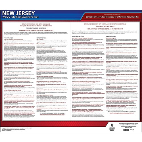 New Jersey / Jersey City Paid Sick Leave Poster (012528)