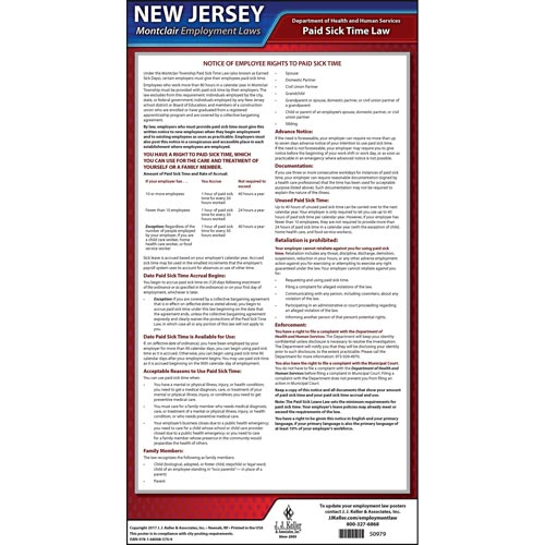 New Jersey / Montclair Paid Sick Leave Poster (012529)
