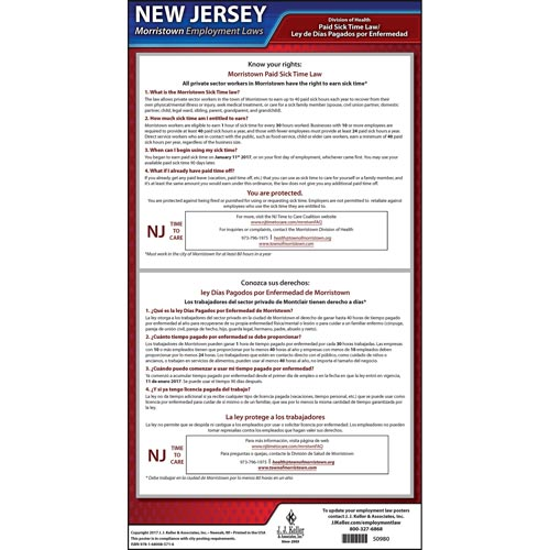 New Jersey / Morristown Paid Sick Leave Poster (012530)