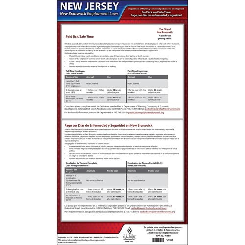New Jersey / New Brunswick Paid Sick Leave Poster (012531)