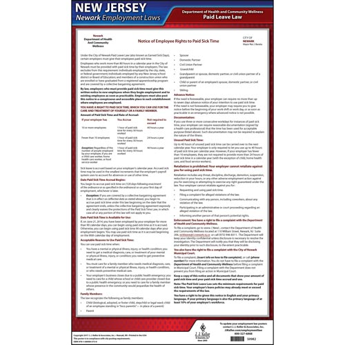 New Jersey / Newark Paid Sick Leave Poster (012532)