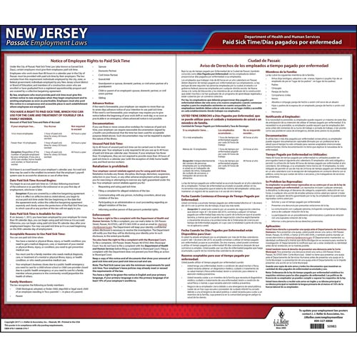 New Jersey / Passaic Paid Sick Leave Poster (012533)