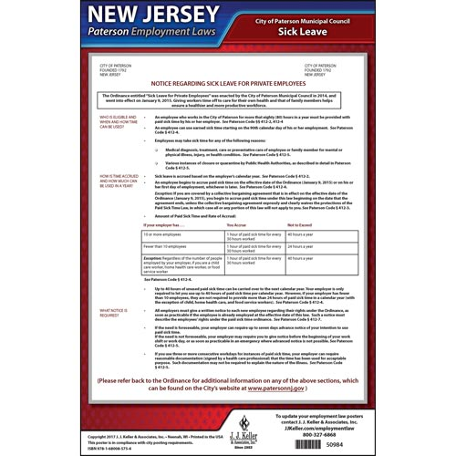 New Jersey / Paterson Paid Sick Leave Poster (012534)