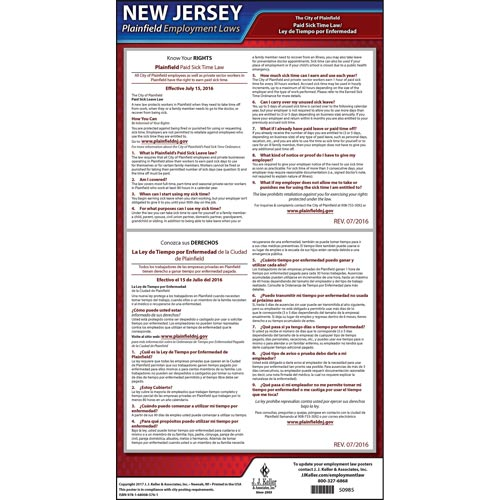 New Jersey / Plainfield Paid Sick Leave Poster (012535)