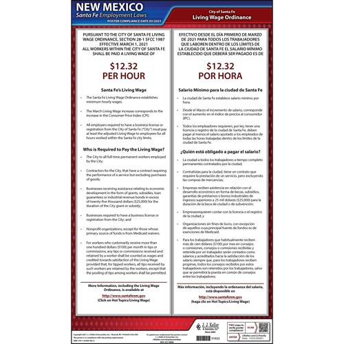 New Mexico / Santa Fe Living Wage Poster (08909)