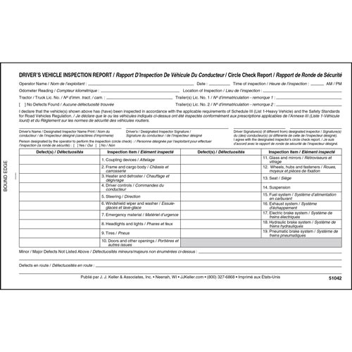 Quebec Driver's Vehicle Inspection Report, Bilingual, 2-Ply, Carbonless - Stock (012847)