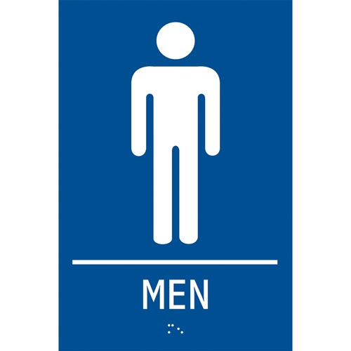 ADA Braille Tactile Men's Restroom Sign: Men (012913)