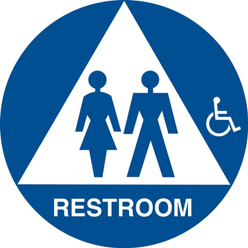 California Title 24 Gender-Neutral Handicap-Accessible Restroom Sign: Restroom (012910)