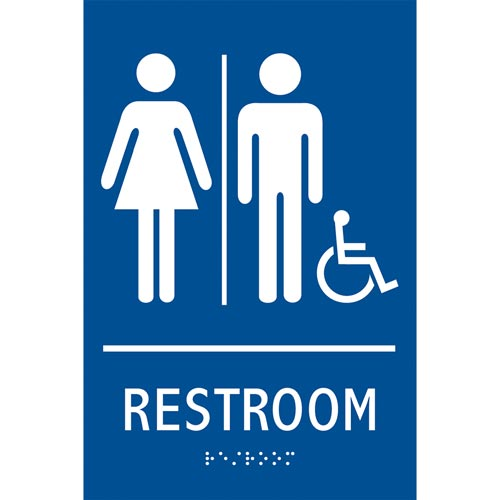 Ada Braille Tactile Gender Neutral Handicap Accessible Restroom Sign Restroom