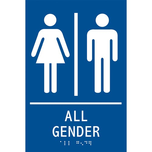 ADA Braille Tactile Gender-Neutral Restroom Sign: All Gender (012920)
