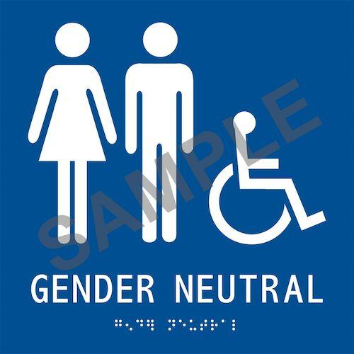 ADA Braille Tactile Gender-Neutral Handicap-Accessible Restroom Sign: Gender Neutral (012922)