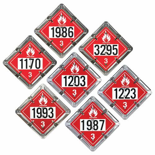 Standard Flip-File Placard, 7-Legend Numbered Set, Unpainted Back Plate (013042)
