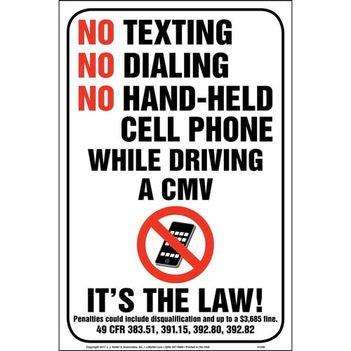 No Texting/Dialing/Hand-Held Cell Phone While Driving CMV Sign (013044)