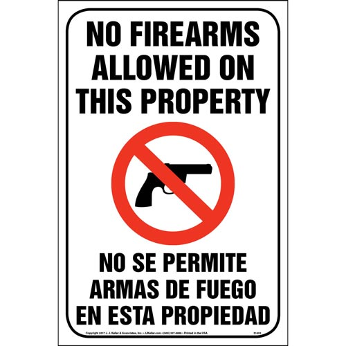No Firearms Allowed On This Property Sign (013048)