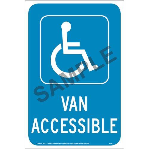 Handicap Van Accessible Parking Sign - Reflective Aluminum (013049)