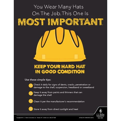 Keep Your Hard Hat In Good Condition - Construction Safety Poster (013931)