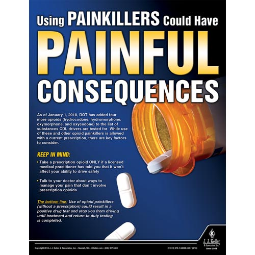 Using PainKillers Could Have Painful Consequences - Motor Carrier Safety Poster (013936)