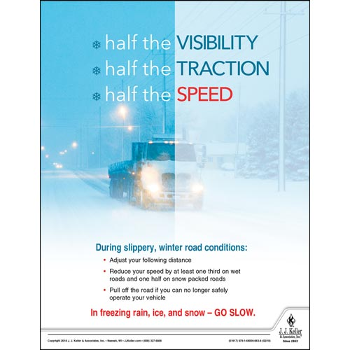 In Freezing Rain, Ice, and Snow - GO SLOW - Transport Safety Risk Poster (013939)