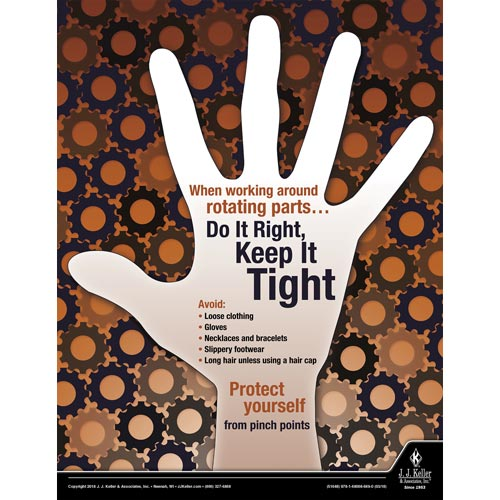 Rotating Parts Keep It Tight - Workplace Safety Advisor Poster (013096)