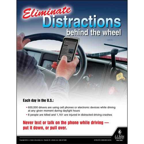 Eliminate Distractions Behind The Wheel - Transport Safety Risk Poster (013127)