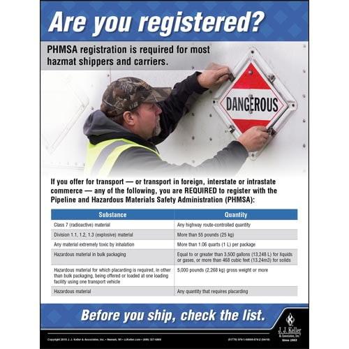 Are You Registered - Hazmat Transportation Poster (013122)