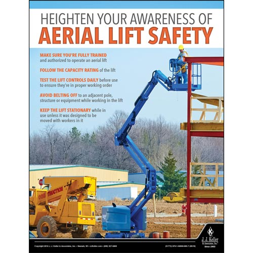 Aerial Lift Safety - Construction Safety Poster (013130)