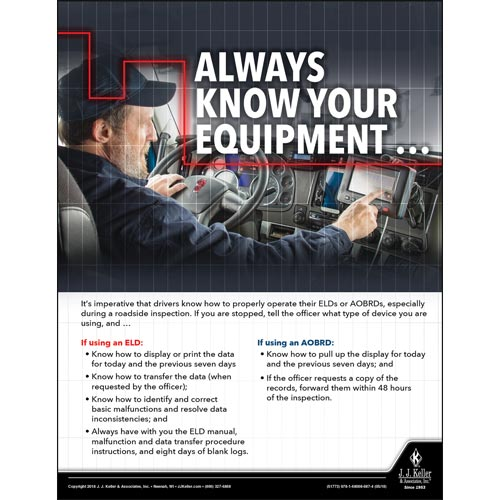 Always Know Your Equipment - Driver Awareness Safety Poster (013131)