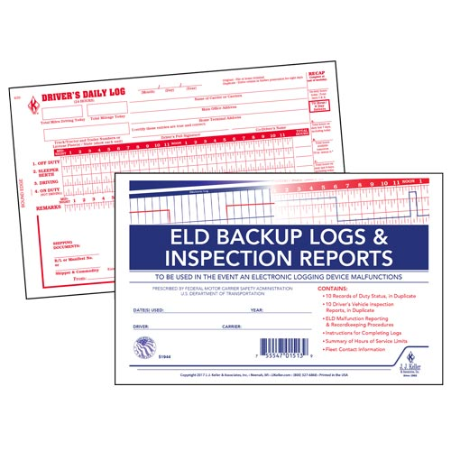 ELD Backup Log Book with Detailed DVIR, 2-Ply, with Recap - Stock (013213)