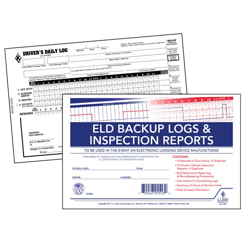 ELD Backup Log Book with Detailed DVIR, 2-Ply, with Recap - Personalized (013214)